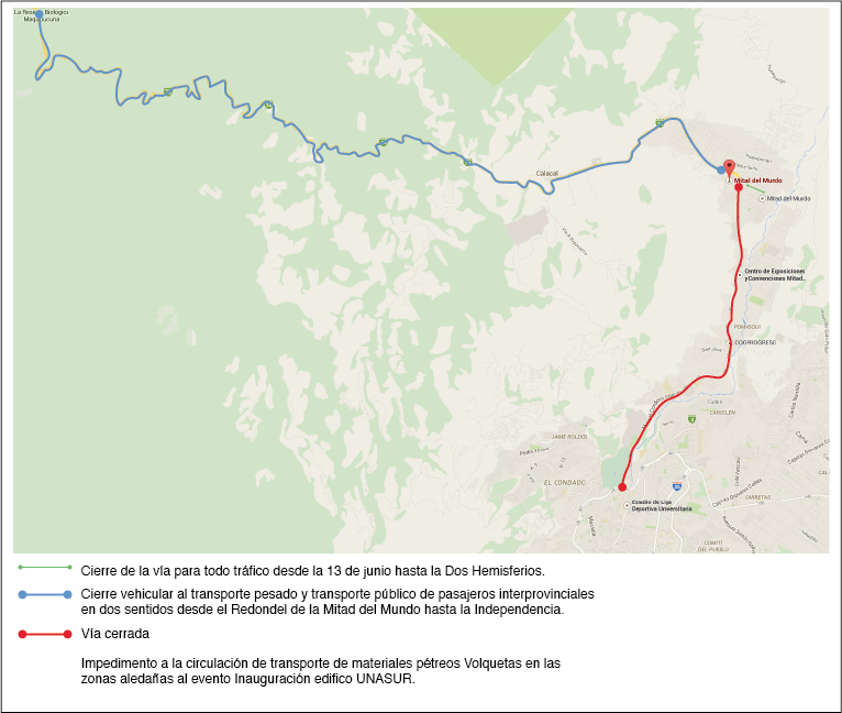Autopista  Manuel Córdova Galarza, cerrada el 5 de diciembre. Fuente: Agencia Metropolitana de Tránsito.