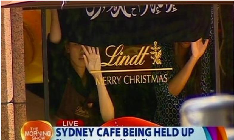 Captura de la situación de una cafetería en Australia, el 14 de diciembre de 2014.