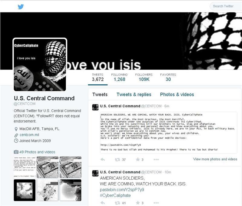 """Captura de la página de la cuenta de Twitter del Comando Central de EE.UU., encargado de las operaciones en Irak y Siria, que fue pirateada hoy, lunes 12 de enero de 2015, y en donde se publicó mensajes extremistas y datos personales de miembros del Pentágono. El grupo, que se hace llamar el """"CyberCaliphate"""", trastocó toda la cuenta de Twitter del Mando Central y cambió la foto de perfil por la de una persona con el rostro cubierto con una kufiya, el pañuelo tradicional árabe, y la bandera utilizada por el Estado Islámico (EI). EFE"""
