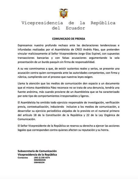 Comunicado vicepresidencia