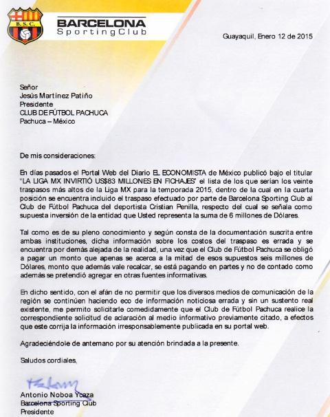 Documento tomado de la página web de Barcelona SC.