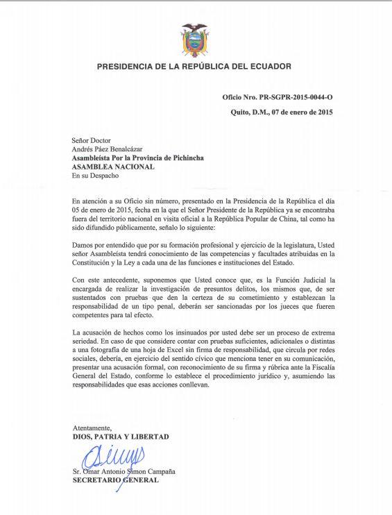 Respuesta presidencia a Páez