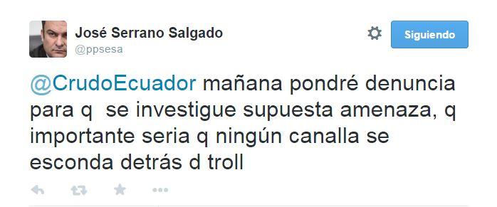 Tuit José Serrano amenaza
