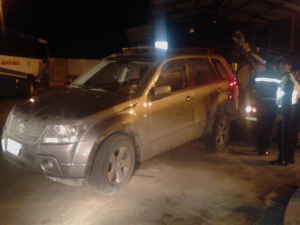 El vehículo en que viajaba Sharon, la madrugada del 4 de enero de 2014.
