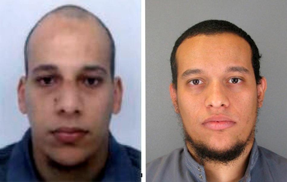 """PARÍS (FRANCIA), 07/01/15.- Fotografías cedidas sin fechar facilitadas por la Policía francesa en París este, 8 de enero de 2015, que muestra a Cherif Kouachi, 32, (i) y su hermano Said Kouachi, 34, (d), sospechosos de la masacre contra el semanario satírico """"Charlie Hebdo"""", el 7 de enero de 2015, en París. EFE/POLICÍA DE FRANCIA/"""