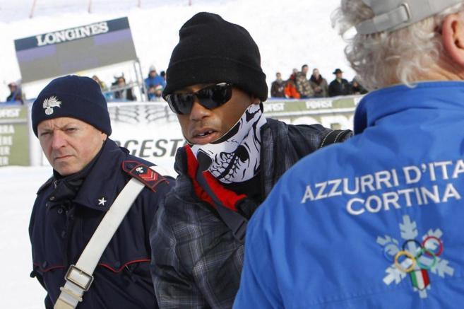 Tiger Woods en la Copa del Mundo de esquí alpino en Cortina d'Ampezzo (Italia). Foto: EFE