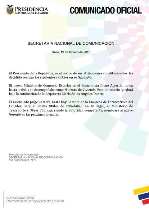 Comunicado de la Secretaría de Comunicación de Ecuador sobre los cambios en el Gabinete Ministerial.