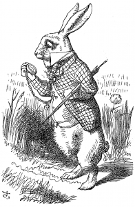 El Conejo Blanco. Primera de las ilustraciones de John Tenniel para esta obra, aparece en el primer capítulo.