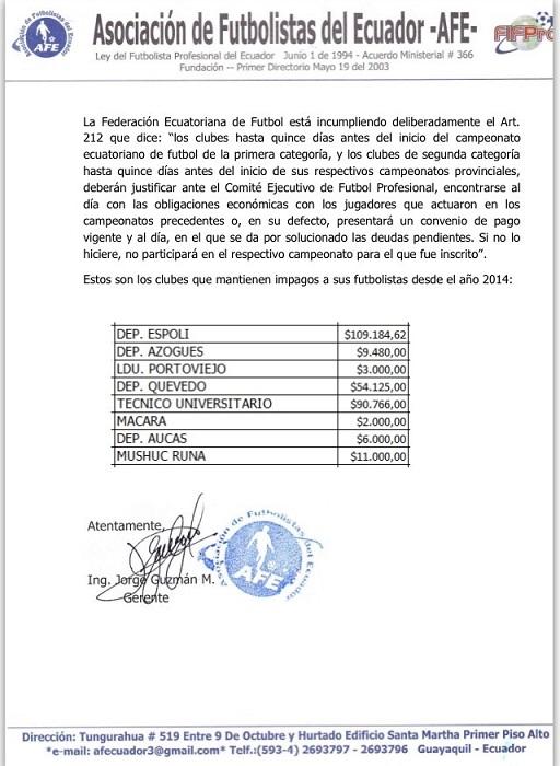 Comunicado de prensa de la AFE.