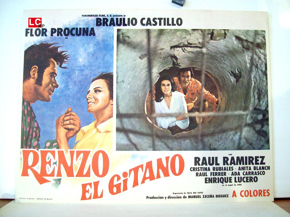 Afiche de la telenovela Renzo el Gitano, con Braulio Castillo, de la década de los 60.