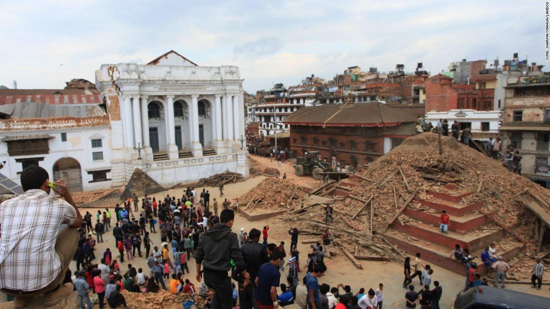 El tempo de Hanumandhoka, en la Plaza Durbar, como ha quedado tras el terremoto del 25 de abril de 2015. Foto difundida por CNN.