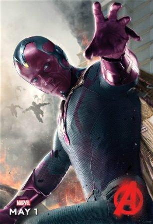 """En esta imagen proporcionada por Disney/Marvel, Paul Bettany encarna a Visión en un póster de la película """"Avengers: Age of Ultron"""", que se estrena el viernes 1 de mayo del 2015. (Disney/Marvel vía AP)"""