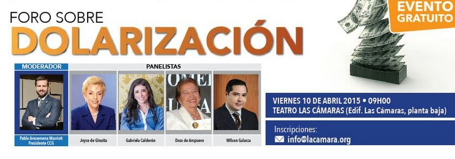 """Captura de pantalla del afiche del evento """"Dolarización"""" organizado por la Càmara de Comercio de Guayaquil."""