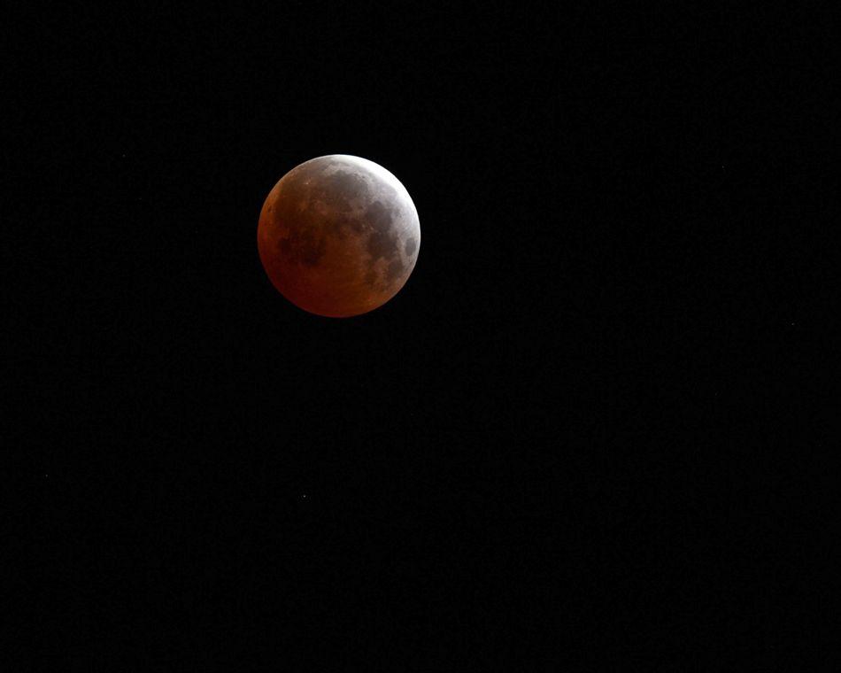 La luna se torna roja durante el eclipse lunar visto desde el Desierto Mojave, en Landers, California, Estados Unidos el 4 de abril de 2015. (Estados Unidos) EFE/EPA/PAUL BUCK