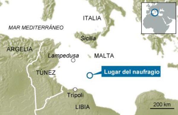 Mapa del lugar del naufragio del 19 de abril de 2015, publicado por el diario El País, de España.