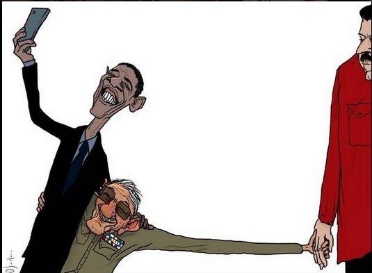 Meme de Obama, Castro y Maduro, que ha circulado en Twitter, el 11 de abril de 2015.
