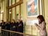 BUENOS AIRES (ARGENTINA), 04/05/2015.- Fotografía cedida hoy, lunes 4 de mayo de 2015, de la presidenta argentina, Cristina Fernández (d), junto al secretario general de la Unasur, Ernesto Samper (c), durante un acto en la Casa Rosada de Buenos Aires en memoria del quinto aniversario del nombramiento al frente de la Unasur de Néstor Kirchner. Dos cuadros nuevos en la Casa Rosada y la presentación de un proyecto para crear una Bienal de Artes Visuales de Suramérica centralizaron hoy las actividades en Buenos Aires en el quinto aniversario de la designación de Néstor Kirchner como secretario general de la Unión de Naciones Suramericanas (Unasur). EFE/