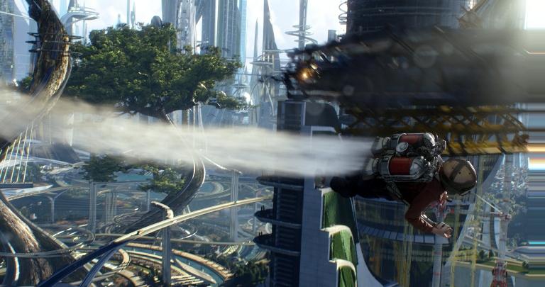 """Thomas Robinson en el papel de Frank Walker, en una escena de """"Tomorrowland"""" de Disney en una fotografía proporcionada por Disney. La película se estrena en Estados Unidos el 22 de mayo de 2015. (Film Frame/Disney via AP)"""