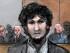Un dibujo del atacante del maratón de Boston Dzhokhar Tsarnaev mientras leen su sentencia en la corte federal Moakley en Boston, el viernes 15 de mayo de 2015. Tsarnaev fue sentenciado a muerte por medio de una inyección letal por su participación en los ataques de 2013. (Jane Flavell Collins via AP)
