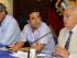 Galo Chiriboga, Fiscal General de la Nación, junto al Gobernador del Guayas Rolando Panchana y Jimmy Jairala, Prefecto del Guayas en la reunión del Consejo de Seguridad de la Provincia, el 20 de mayo de 2015, en foto del Ministerio del Interior.