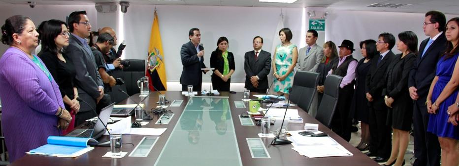 La abogada Doris Gallardo, cuando se posesionó en la Comisión Ciudadana que renovó parcialmente el Consejo Nacional Electoral. Foto de agosto de 2013, difundida por la web del Consejo de Participación Ciudadana y Control.