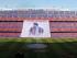 """BARCELONA, 23/05/2015.- Vista de una pancarta en la que se puede leer """"Gracies Xavi"""" desplegada al inicio del partido de la trigésima octava jornada, y última, de Liga, que disputan frente al Deportivo, en el estadio Camp Nou de Barcelona. EFE/Toni Garriga"""