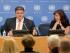 En esta fotografía del miércoles 27 de mayo de 2015 proporcionada por la ONU, Linas Linkevicius, ministro de Relaciones Exteriores de Lituania, habla con reporteros en la sede del organismo internacional. (Foto de Rick Bajornas/Organización de las Naciones Unidas vía AP)