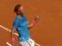 El español Rafael Nadal festeja tras vencer a Tomas Berdych en las semifinales del Abierto de Madrid el sábado, 9 de mayo de 2015. (AP Photo/Daniel Ochoa de Olza).