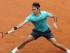 Roger Federer en un pasaje del partido en que venció a Tomas Berdych en cuartos de final del Abierto de Italia  el 15 de mayo del 2015. (AP Foto/Alessandra Tarantino)