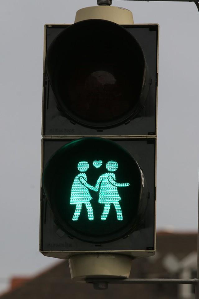 Imagen de un semáforo que muestra imágenes de dos personas del mismo género tomada el martes 12 de mayo de 2015 es usada en Viena, Austria. Estas señales estarán colocadas hasta junio. (Foto AP/Ronald Zak)