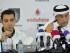 El centrocampista español Xavi Hernández (i) se dirige a los medios junto al director general del equipo catarí Al Sadd, Yasim al Rumaihi (d), durante la presentación para la prensa de su incorporación al club, en Doha, Catar, hoy, jueves 11 de junio de 2015. EFE/Str.