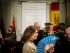 La alcaldesa de Madrid Ana Botella, en el centro, sonríe luego de la ceremonia en que se develó la nueva tumba del escritor español Miguel de Cervantes en un convento en Madrid, España, el jueves 11 de junio de 2015. (AP Foto/Daniel Ochoa de Olza)