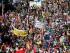 Vista de una manifestación de protesta por la reunión de las potencias industrializadas el 4 de junio del 2015 en Munich, Alemania. (AP Foto/Matthias Schrader)