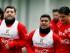 El jugador de la selección de Chile, David Pizarro, segundo desde la derecha, trota en un entrenamiento el martes, 9 de junio de 2015, en Santiago. (AP Photo/Luis Hidalgo)