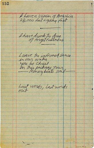 En esta imagen sin fecha proporcionada por Paddle8, un poema escrito a mano por Jim Morrison que la rematadora espera subastar por entre 60.000 y 80.000 dólares. La puja termina el 25 de junio. (Paddle8 via AP)