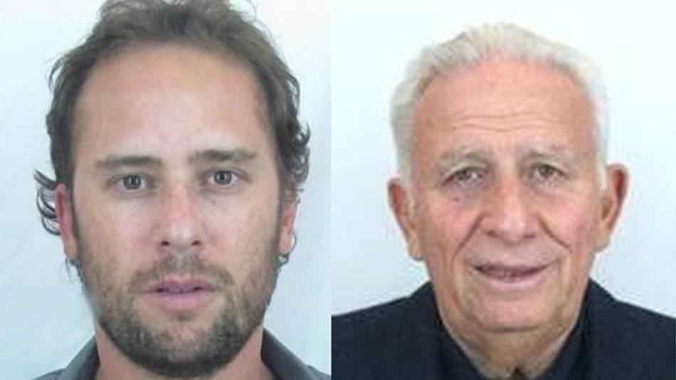 Imagen de las fotos divulgadas por la Interpol de los empresarios Mariano Jinkis, izquierda, y Hugo Jinkis, centro. La Interpol los incluyó en la lista de más buscados el miércoles, 3 de junio de 2015, por sus vínculos con el escándalo de sobornos en la FIFA. (Interpol via AP)