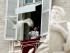 El papa Francisco se prepara para dar el Angelus desde el balcón de su estudio que da a la Plaza de San Pedro, en el Vaticano el domingo 14 de junio de 2015. (Foto AP/Gregorio Borgia)