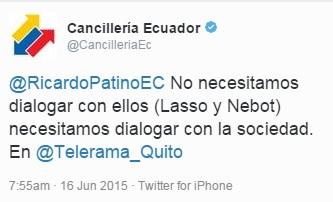 Tuit de la Cancillería del Ecuador sobre las declaraciones del canciller Ricardo Patiño el martes 16 de junio.