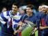 De izquierda a derecha, el uruguayo Luis Suárez, el argentino Lionel Messi y el brasileño Neymar, del Barcelona, festejan con el trofeo de la Liga de Campeones, el sábado 6 de junio de 2015, tras vencer a la Juventus en la final (AP Foto/Frank Augstein)