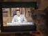 Un gato camina delante de una pantalla de televisión mostrando el primer ministro griego Alexis Tsipras abordar el pueblo griego en un discurso televisado en la televisión estatal ERT , en Atenas, Grecia, 28 de junio de 2015.  ( Grecia , Atenas ) EFE / EPA / Orestis PANAGIOTOU