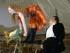 """VIENA (AUSTRIA), 16/07/2015.- Brigitte Hobmeier (i) como """"Buhlschaft"""" y Cornelious Obonya (d) como """"Jederman"""" son vistos hoy, 16 de julio de 2015, durante un ensayo de la obra de Hugo von Hofmannsthal """"Jedermann"""" en la plaza Domplatz en Austria (Viena). La obra se presentará el 19 de julio de 2015 durante la edición anual del Festival de Salzburgo que va desde el 18 de julio al 30 de agosto. EFE/BARBARA GINDL"""