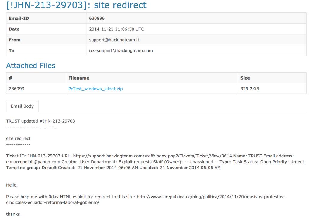 Captura de pantalla de email de Hacking Team.