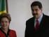 La mandataria brasileña Dilma Rousseff (i) recibe su homólogo de Venezuela Nicolás Maduro (d) el viernes 17 de julio, para la reunión del bloque Mercosur en el Palacio del Itamaraty en Brasilia (Brasil). EFE/Fernando Bizerra Jr.
