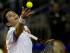 El tenista Federico Delbonis hace un servicio en el partido contra Viktor Troicki durante el duelo de cuartos de final por la Copa Davis en Buenos Aires, Argentina, el viernes 17 de julio de 2015. (Foto AP/Natacha Pisarenko)