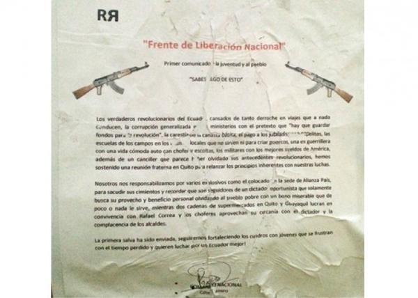 "Panfleto del denominado ""Frente de Liberación Nacional"""