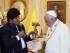 Miércoles 08 de julio de 2015. Presidente Morales y el papa Francisco inician reunión privada en Palacio de Gobierno  e intercambian regalos en Palacio de Gobierno. ( Jose LIrauze/Agencia Boliviana de Información )