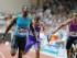El velocista estadounidense Justin Gatlin gana la carrera de los 100 metros planos en la reunión internacional Herculis de la Liga Diamante, en el estadio,Louis II de Mónaco, el viernes 17 de julio de 2015. (Foto AP/Claude Paris)