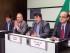 El presidente de la Coalición Nacional de Fuerzas Revolucionarias y Opositoras Sirias, Hadi al-Bahra, derecha, el vicepresidente Hisham Marwah, 2do derecha, junto con miembros del Organismo Coordinador Nacional Safwan Akkash, 2do izquierda, y Jalaf Dahowd hablan en conferencia de prensa en Bruselas, viernes 24 de julio de 2015. (AP Foto/Geert Vanden Wijngaert)