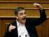 El ministro griego de Finanzas, Euclid Tsakalotos, habla durante una reunión parlamentaria en Atenas, el miércoles 22 de julio de 2015. . (AP Foto/Thanassis Stavrakis)