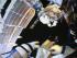 KOROLEV (RUSIA), 10/08/2015.- Fotografía sacada de una de las pantallas del Centro de Control de Vuelos Espaciales (CCVE) con sede en Korolev, a las afueras de Moscú, Rusia hoy 10 de agosto de 2015 que muestra a los cosmonautas rusos Guennadi Padalka y Mijaíl Kornienko saliendo de la Estación Espacial Internacional (EEI) para realizar una serie de trabajos en su casco. La caminata espacial tendrá una duración aproximada de 6 horas y media. EFE/Sergei Chirikov